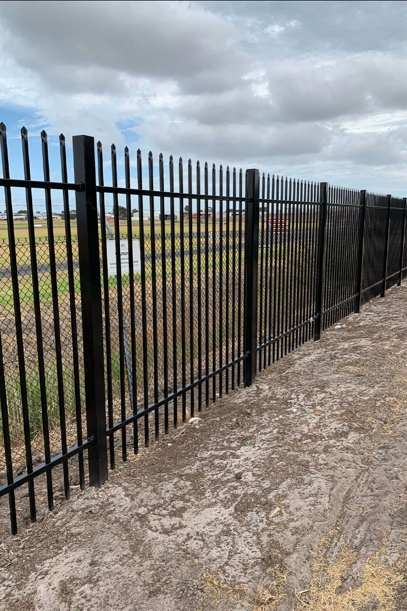 air port security fencing Melbourne close up photo