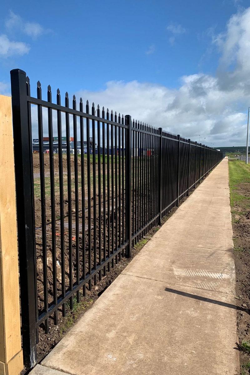 tubular steel palisade fencing footpath