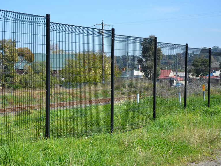 black tiered welded mesh fence Melbourne