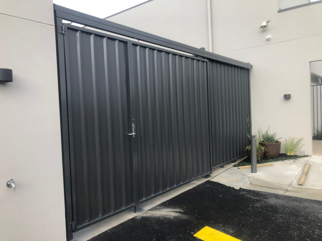 brown colorbond steel gate in epping suburb melbourne