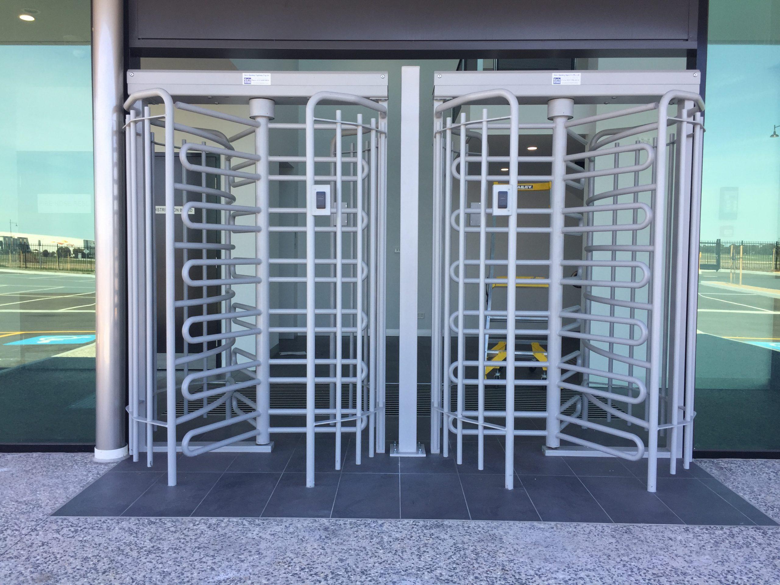 metallic turnstiles